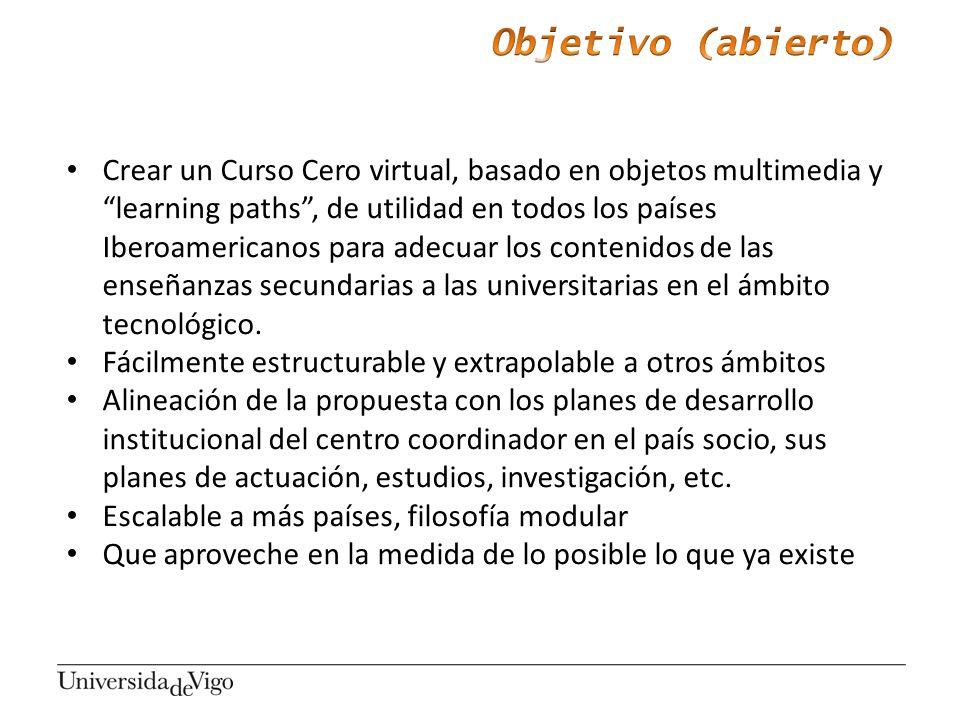 Crear un Curso Cero virtual, basado en objetos multimedia y learning paths, de utilidad en todos los países Iberoamericanos para adecuar los contenido