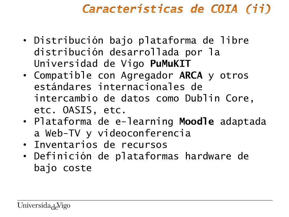 Distribución bajo plataforma de libre distribución desarrollada por la Universidad de Vigo PuMuKIT Compatible con Agregador ARCA y otros estándares in