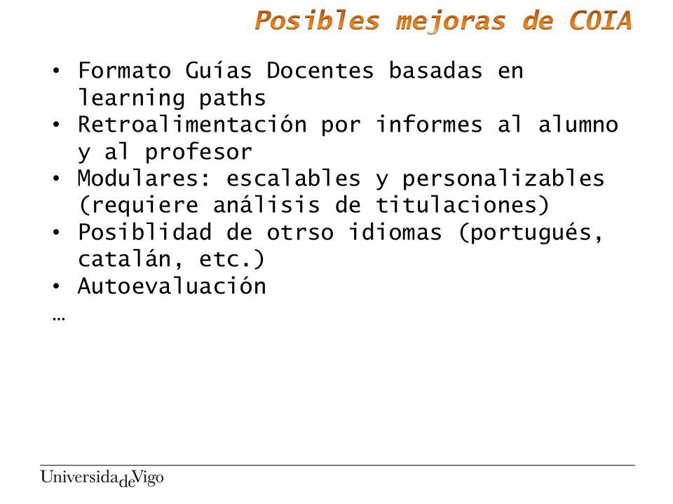 Formato Guías Docentes basadas en learning paths Retroalimentación por informes al alumno y al profesor Modulares: escalables y personalizables (requi