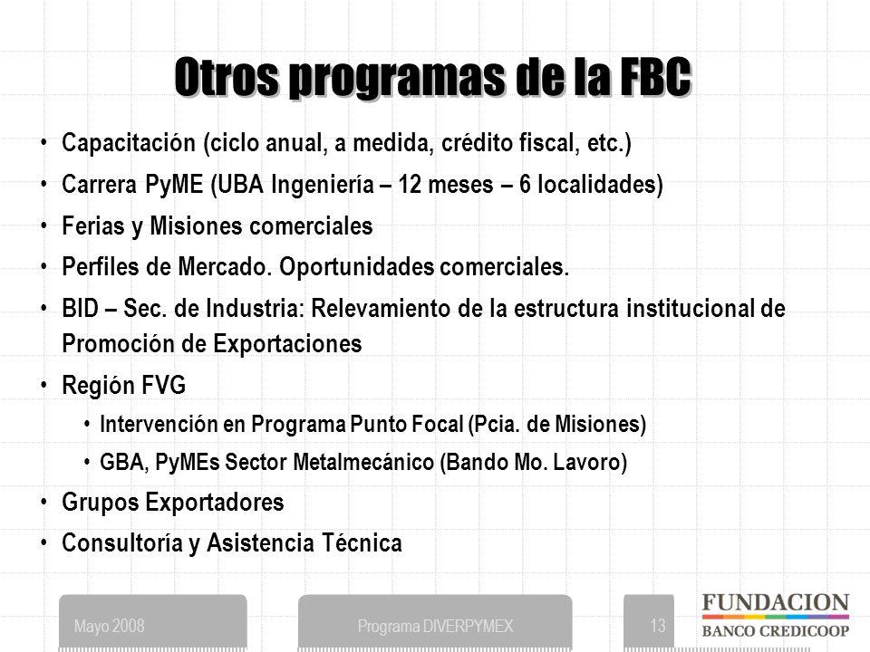 Mayo 2008Programa DIVERPYMEX13 Otros programas de la FBC Capacitación (ciclo anual, a medida, crédito fiscal, etc.) Carrera PyME (UBA Ingeniería – 12 meses – 6 localidades) Ferias y Misiones comerciales Perfiles de Mercado.
