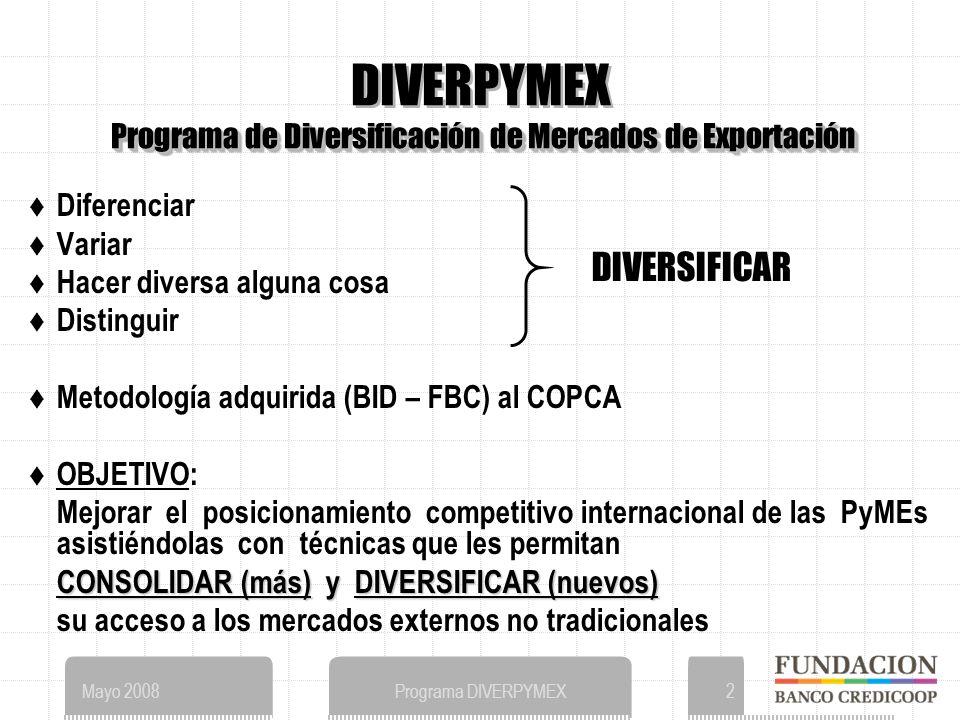 Mayo 2008Programa DIVERPYMEX2 Programa de Diversificación de Mercados de Exportación DIVERPYMEX Programa de Diversificación de Mercados de Exportación Diferenciar Variar Hacer diversa alguna cosa Distinguir Metodología adquirida (BID – FBC) al COPCA OBJETIVO: Mejorar el posicionamiento competitivo internacional de las PyMEs asistiéndolas con técnicas que les permitan CONSOLIDAR (más) yDIVERSIFICAR (nuevos) CONSOLIDAR (más) y DIVERSIFICAR (nuevos) su acceso a los mercados externos no tradicionales DIVERSIFICAR