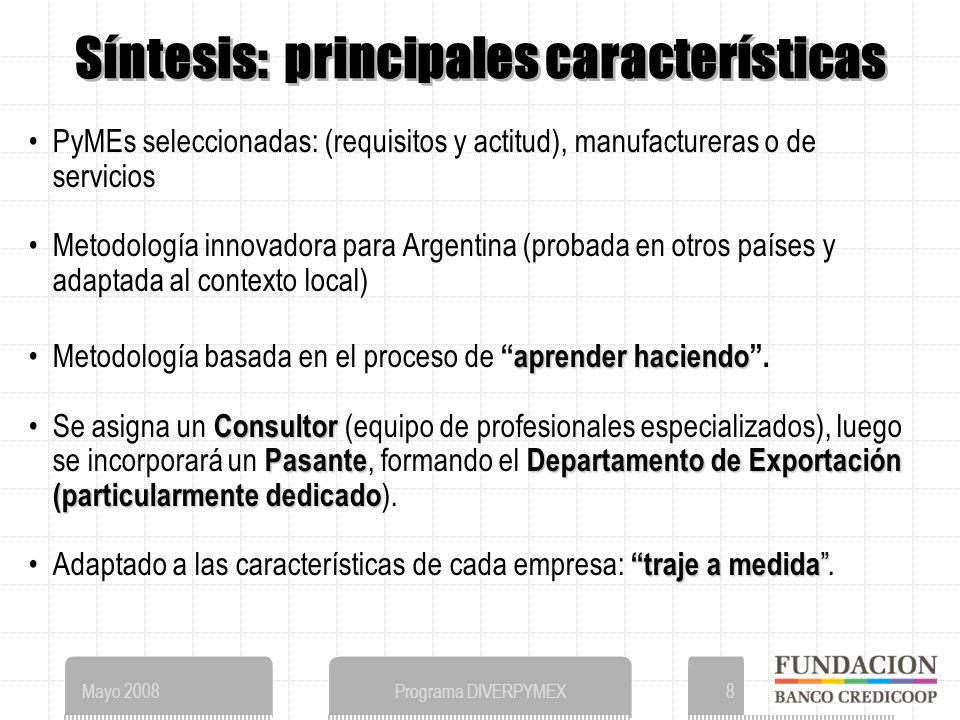 Mayo 2008Programa DIVERPYMEX8 Síntesis: principales características PyMEs seleccionadas: (requisitos y actitud), manufactureras o de servicios Metodología innovadora para Argentina (probada en otros países y adaptada al contexto local) aprender haciendoMetodología basada en el proceso deaprender haciendo.