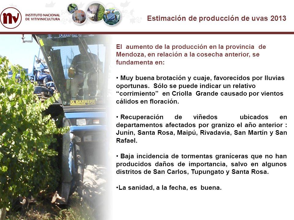 Estimación de producción de uvas 2013 El aumento de la producción en la provincia de Mendoza, en relación a la cosecha anterior, se fundamenta en: Muy buena brotación y cuaje, favorecidos por lluvias oportunas.