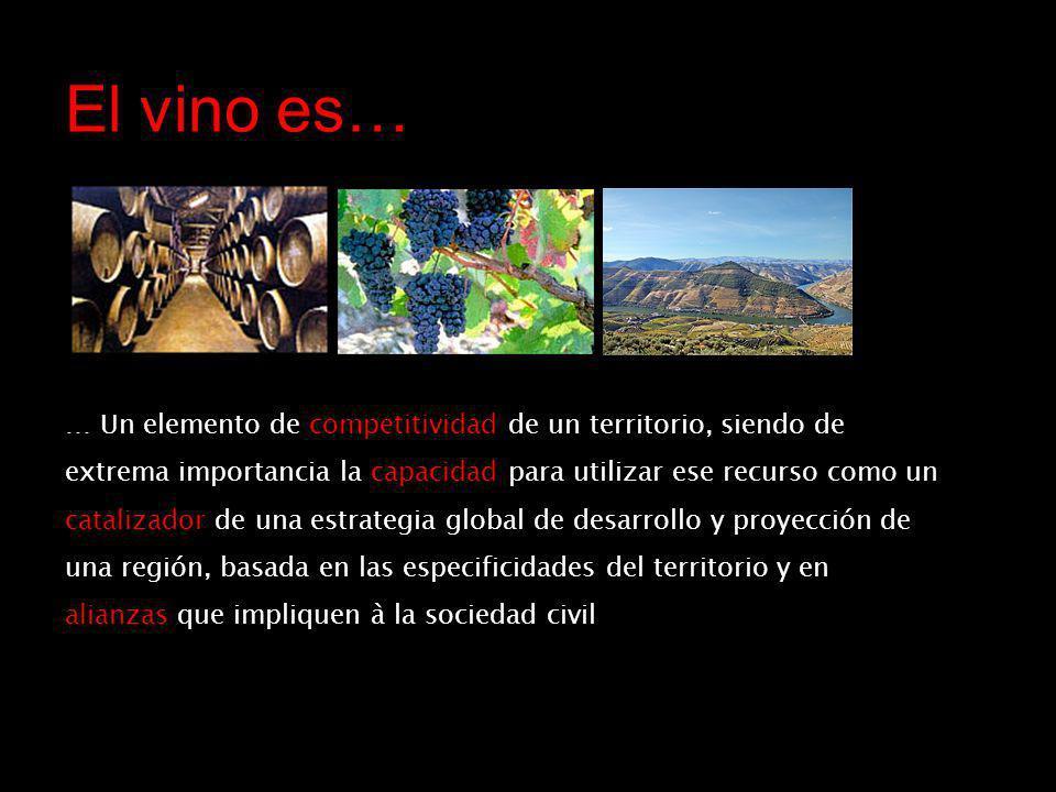 El vino es… … Un elemento de competitividad de un territorio, siendo de extrema importancia la capacidad para utilizar ese recurso como un catalizador de una estrategia global de desarrollo y proyección de una región, basada en las especificidades del territorio y en alianzas que impliquen à la sociedad civil