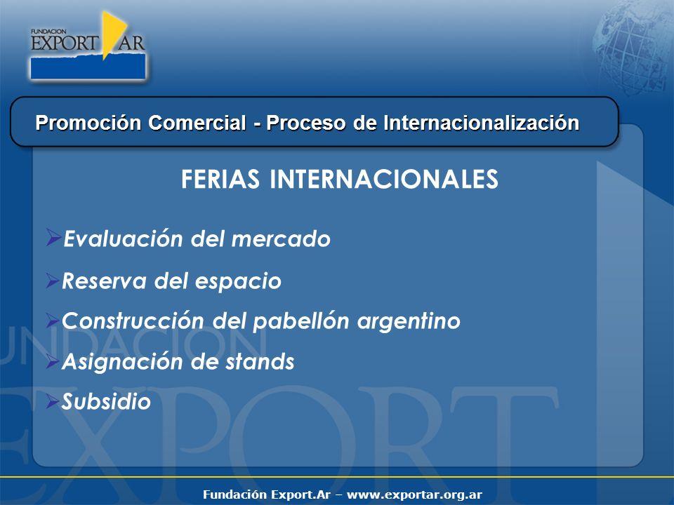 Fundación Export.Ar – www.exportar.org.ar Promoción Comercial - Proceso de Internacionalización Evaluación del mercado Reserva del espacio Construcción del pabellón argentino Asignación de stands Subsidio FERIAS INTERNACIONALES