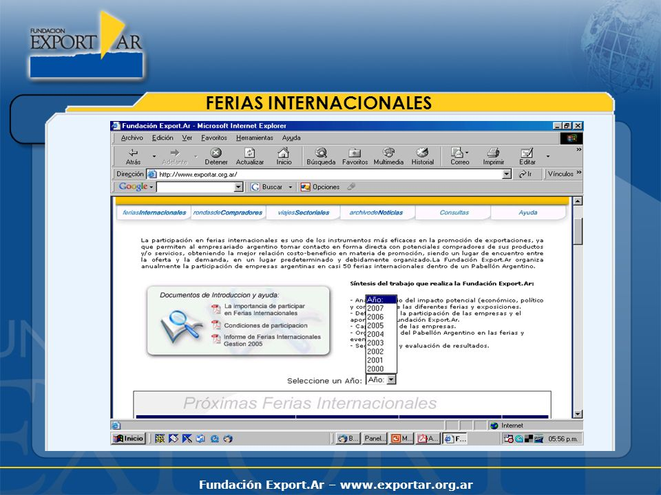 Fundación Export.Ar – www.exportar.org.ar FERIAS INTERNACIONALES