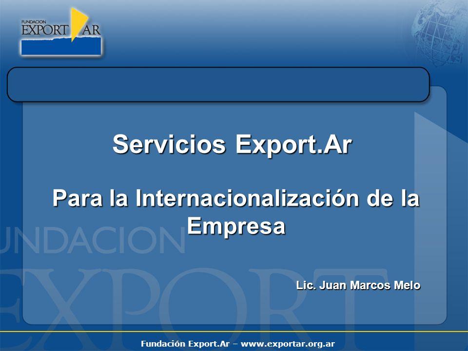 Fundación Export.Ar – www.exportar.org.ar FERIAS INTERNACIONALES Año 2009 NOMBRESECTORLUGARFECHA PROWEIN VinosDüsseldorf, Alemania 29 al 31 de Marzo Promoción Comercial - Proceso de Internacionalización