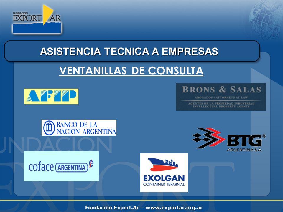 Fundación Export.Ar – www.exportar.org.ar ASISTENCIA TECNICA A EMPRESAS VENTANILLAS DE CONSULTA