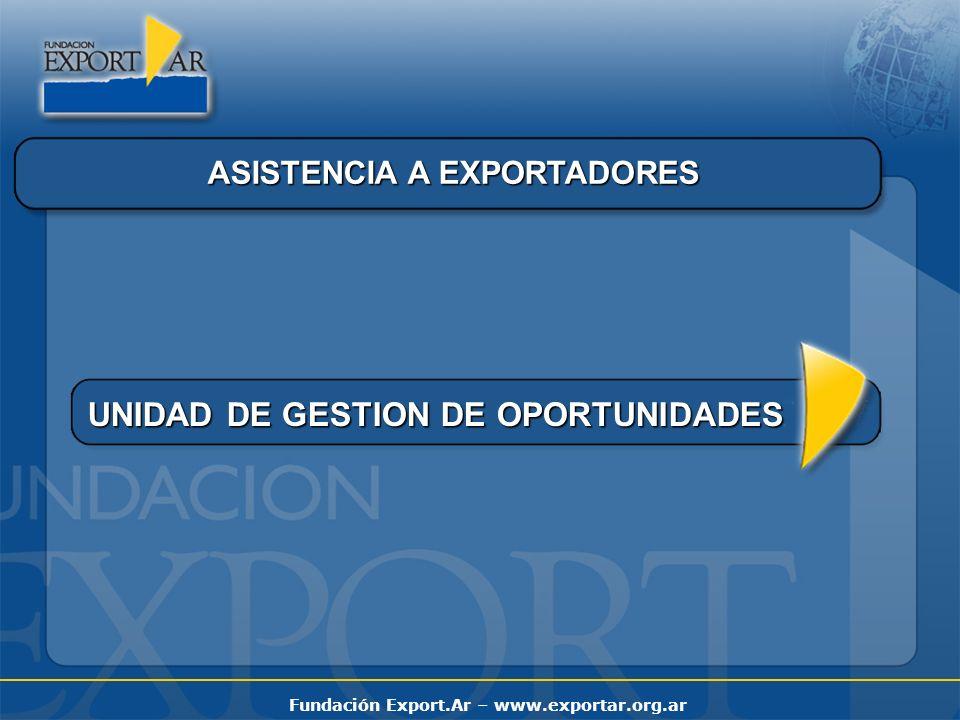 Fundación Export.Ar – www.exportar.org.ar ASISTENCIA A EXPORTADORES UNIDAD DE GESTION DE OPORTUNIDADES