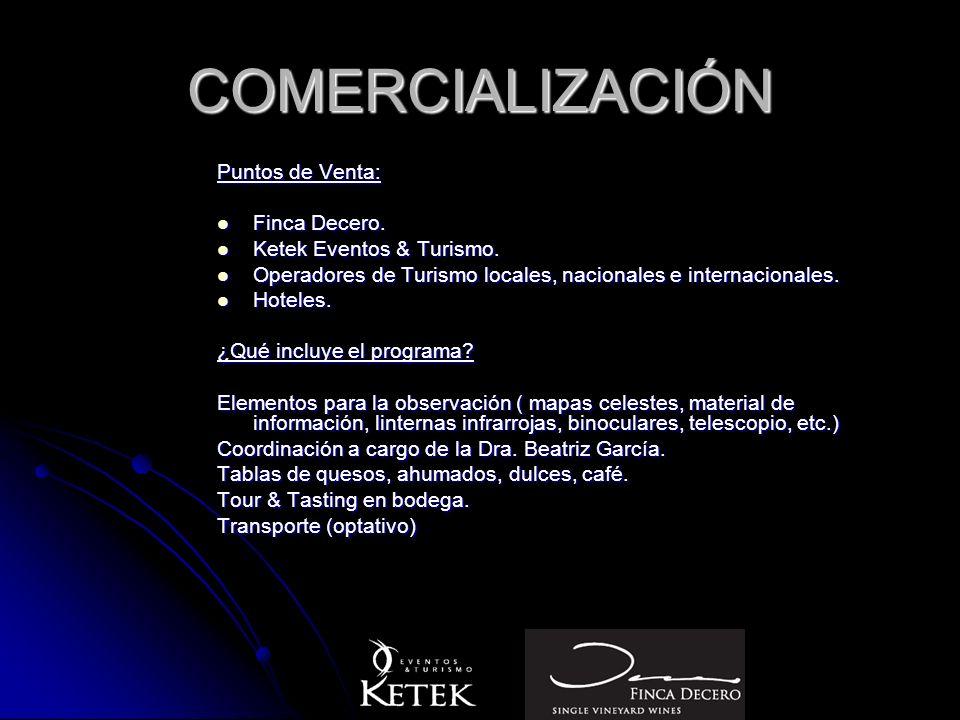 COMERCIALIZACIÓN Puntos de Venta: Finca Decero. Finca Decero. Ketek Eventos & Turismo. Ketek Eventos & Turismo. Operadores de Turismo locales, naciona