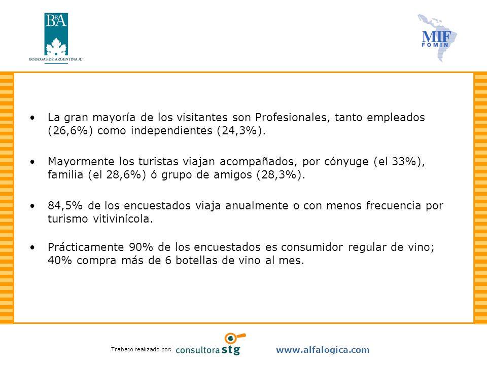 Trabajo realizado por: www.alfalogica.com La gran mayoría de los visitantes son Profesionales, tanto empleados (26,6%) como independientes (24,3%). Ma