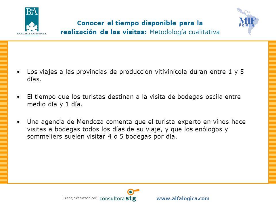 Trabajo realizado por: www.alfalogica.com Los viajes a las provincias de producción vitivinícola duran entre 1 y 5 días. El tiempo que los turistas de