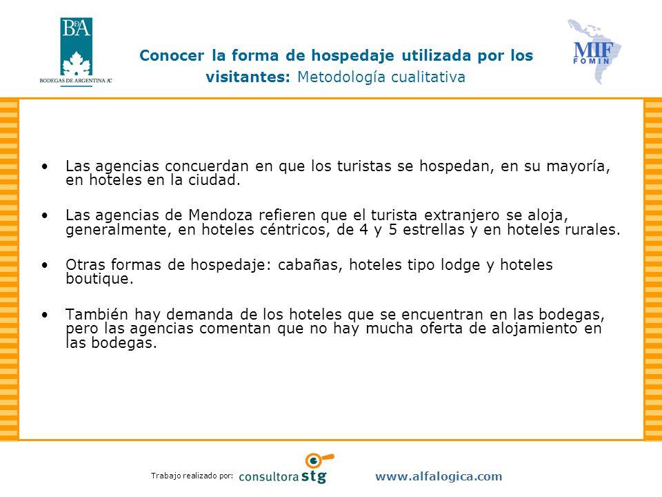 Trabajo realizado por: www.alfalogica.com Las agencias concuerdan en que los turistas se hospedan, en su mayoría, en hoteles en la ciudad. Las agencia