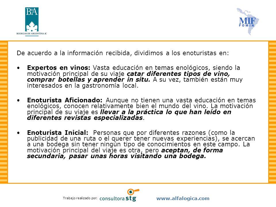 Trabajo realizado por: www.alfalogica.com De acuerdo a la información recibida, dividimos a los enoturistas en: Expertos en vinos: Vasta educación en