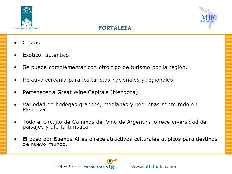 Trabajo realizado por: www.alfalogica.com FORTALEZA Costos. Exótico, auténtico. Se puede complementar con otro tipo de turismo por la región. Relativa