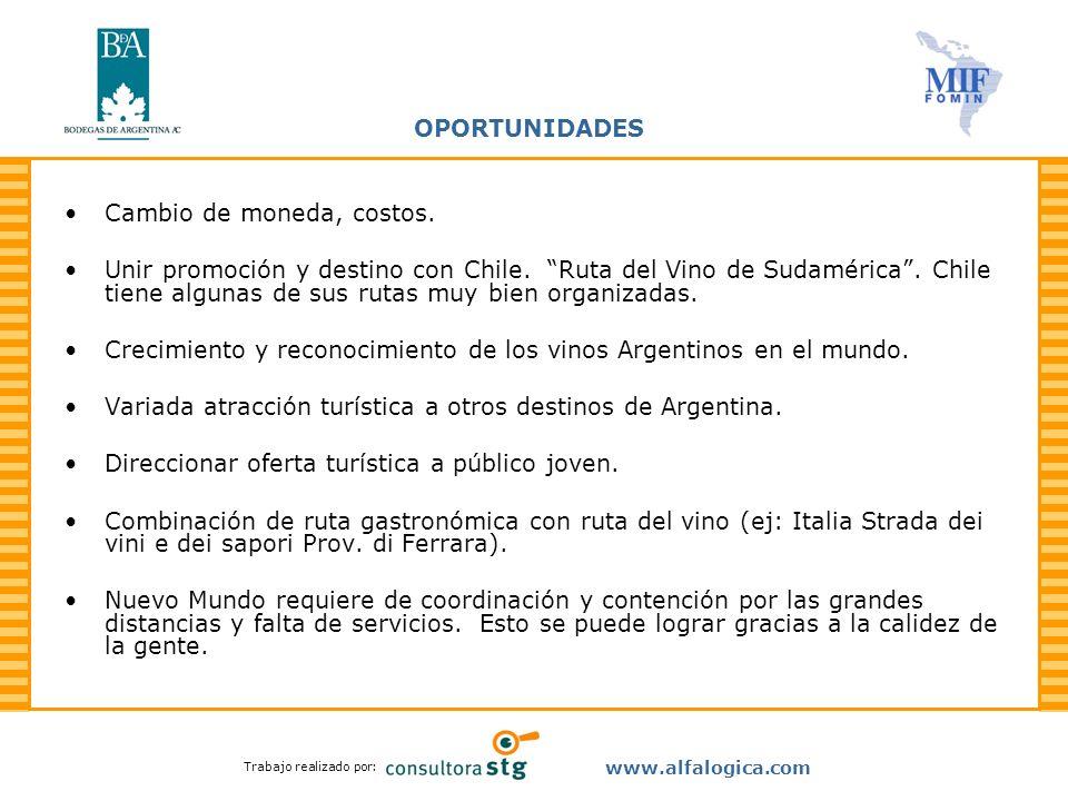 Trabajo realizado por: www.alfalogica.com OPORTUNIDADES Cambio de moneda, costos. Unir promoción y destino con Chile. Ruta del Vino de Sudamérica. Chi