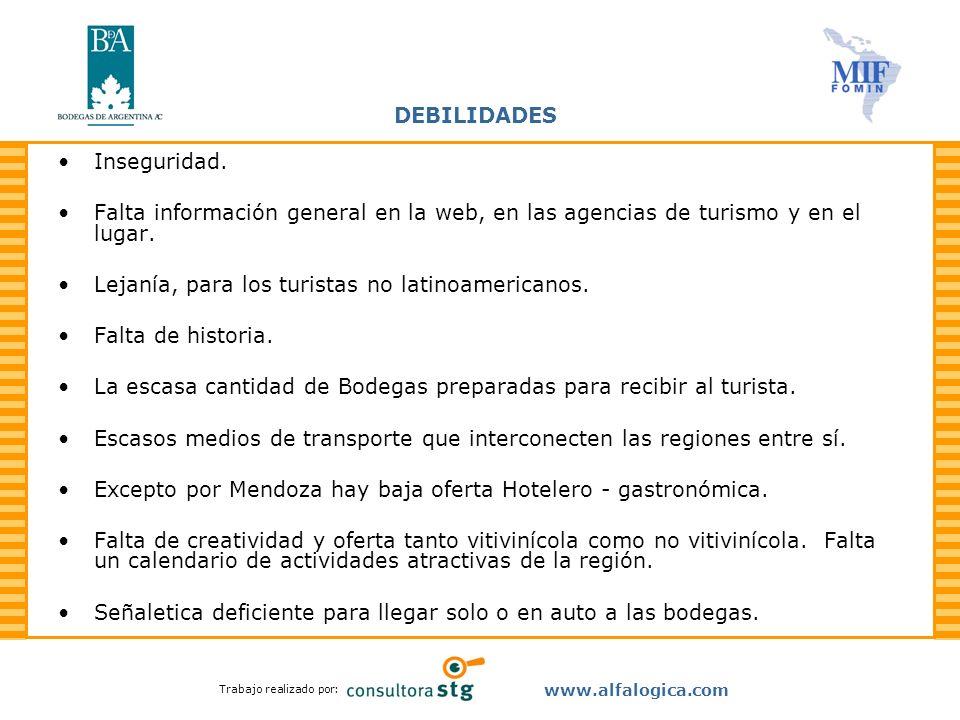 Trabajo realizado por: www.alfalogica.com DEBILIDADES Inseguridad. Falta información general en la web, en las agencias de turismo y en el lugar. Leja