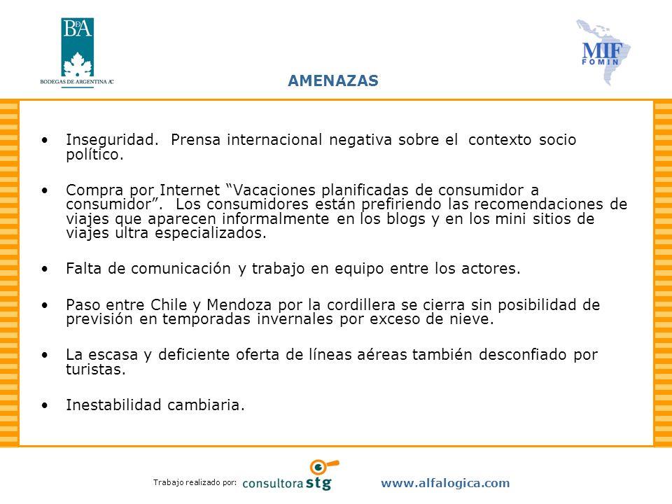 Trabajo realizado por: www.alfalogica.com AMENAZAS Inseguridad. Prensa internacional negativa sobre el contexto socio político. Compra por Internet Va
