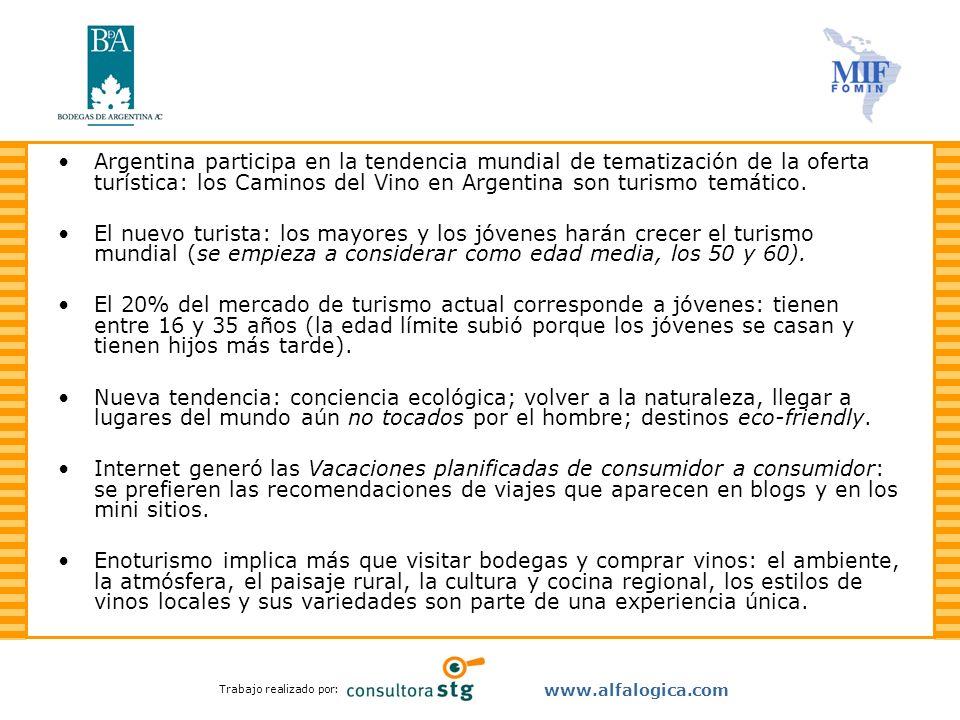 Trabajo realizado por: www.alfalogica.com Argentina participa en la tendencia mundial de tematización de la oferta turística: los Caminos del Vino en