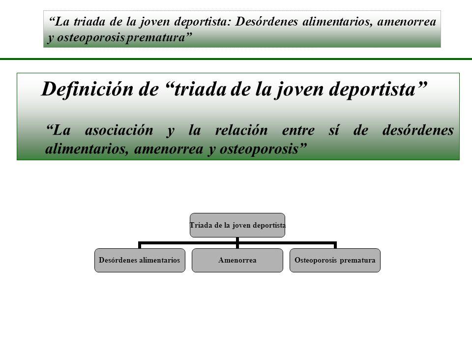 La triada de la joven deportista: Desórdenes alimentarios, amenorrea y osteoporosis prematura Definición de triada de la joven deportista La asociació