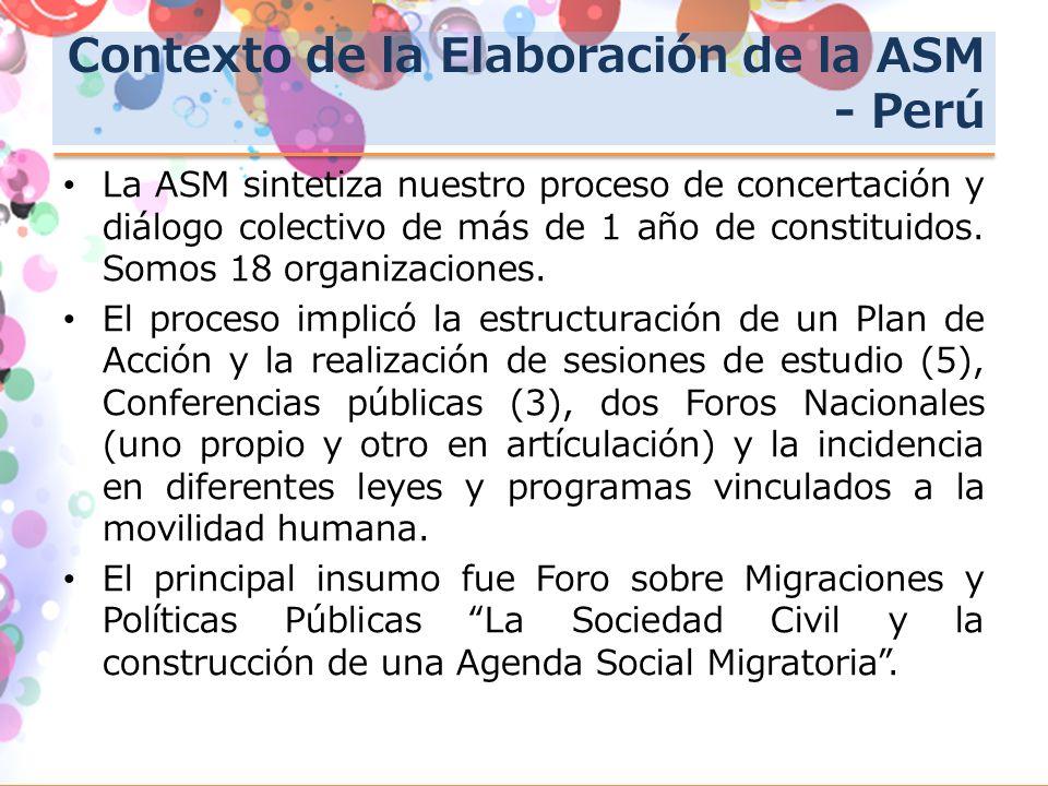 Contexto de la Elaboración de la ASM - Perú La ASM sintetiza nuestro proceso de concertación y diálogo colectivo de más de 1 año de constituidos.