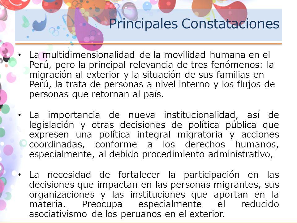 Principales Constataciones La multidimensionalidad de la movilidad humana en el Perú, pero la principal relevancia de tres fenómenos: la migración al exterior y la situación de sus familias en Perú, la trata de personas a nivel interno y los flujos de personas que retornan al país.