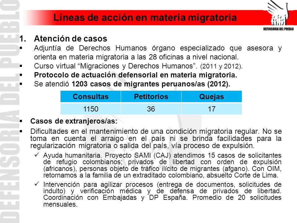 Líneas de acción en materia migratoria 1.Atención de casos Adjuntía de Derechos Humanos órgano especializado que asesora y orienta en materia migrator