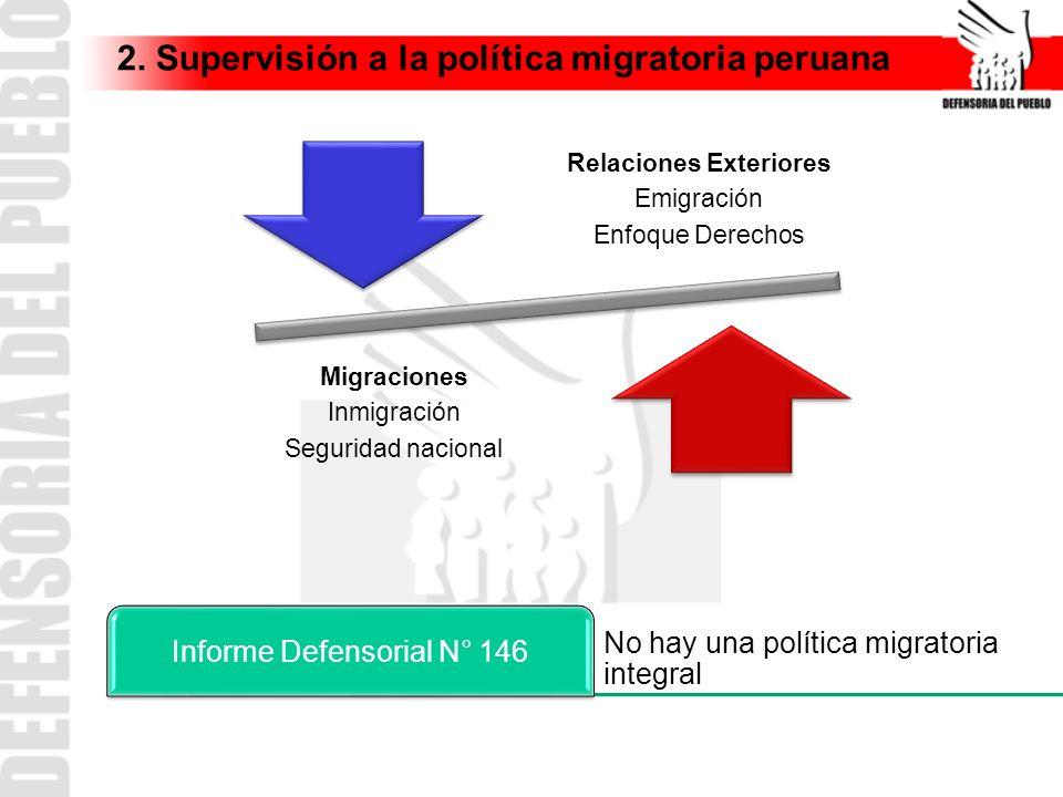 2. Supervisión a la política migratoria peruana Relaciones Exteriores Emigración Enfoque Derechos Migraciones Inmigración Seguridad nacional No hay un