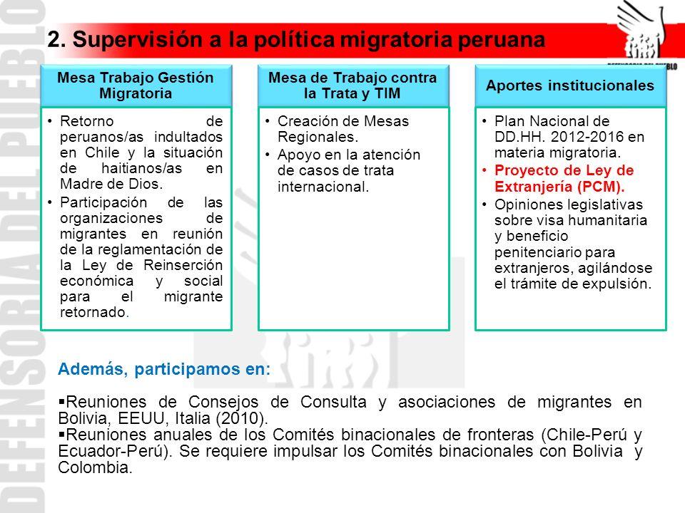 Mesa Trabajo Gestión Migratoria Retorno de peruanos/as indultados en Chile y la situación de haitianos/as en Madre de Dios. Participación de las organ