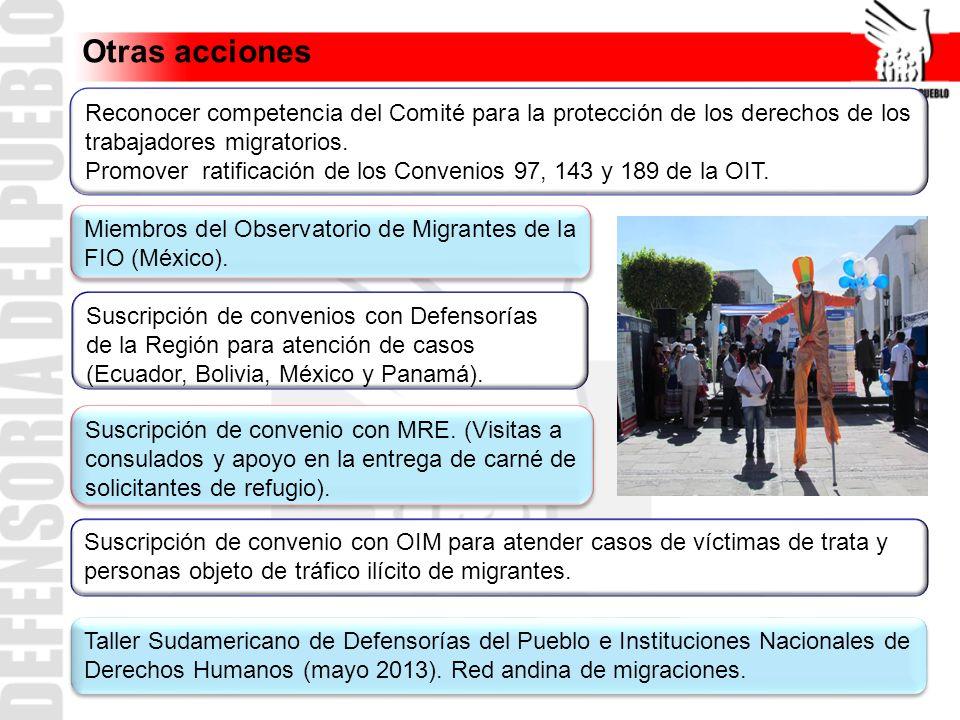 Reconocer competencia del Comité para la protección de los derechos de los trabajadores migratorios. Promover ratificación de los Convenios 97, 143 y