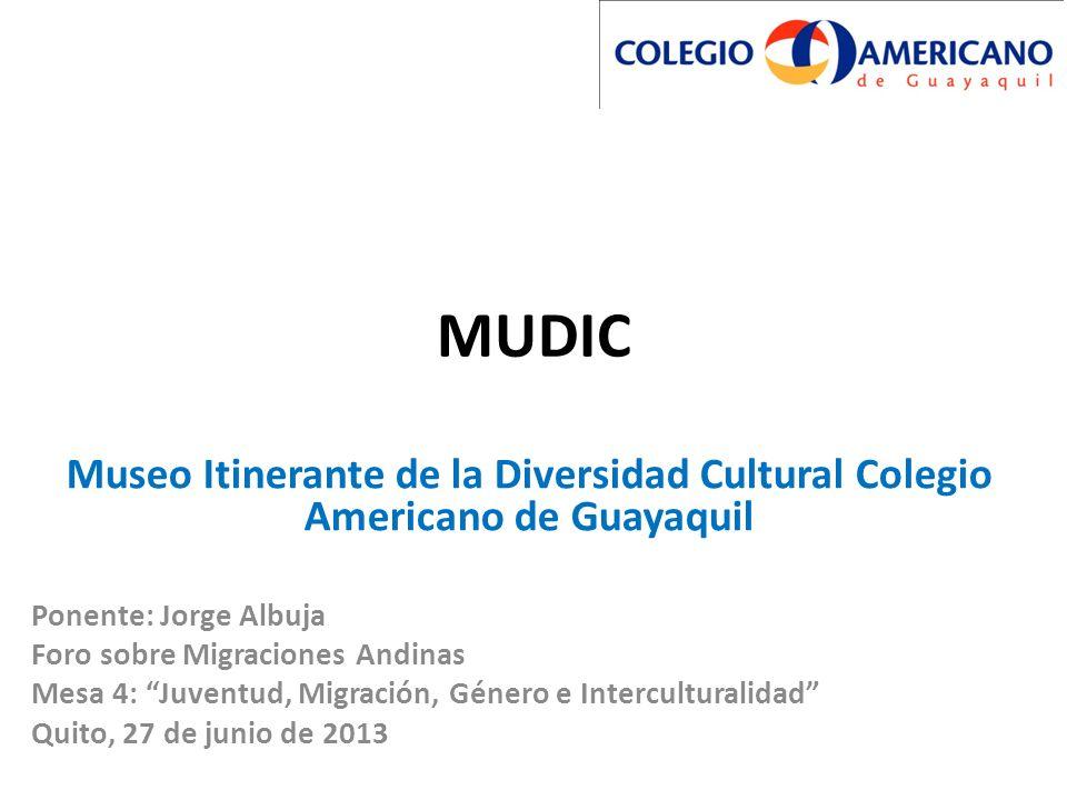 MUDIC Museo Itinerante de la Diversidad Cultural Colegio Americano de Guayaquil Ponente: Jorge Albuja Foro sobre Migraciones Andinas Mesa 4: Juventud,