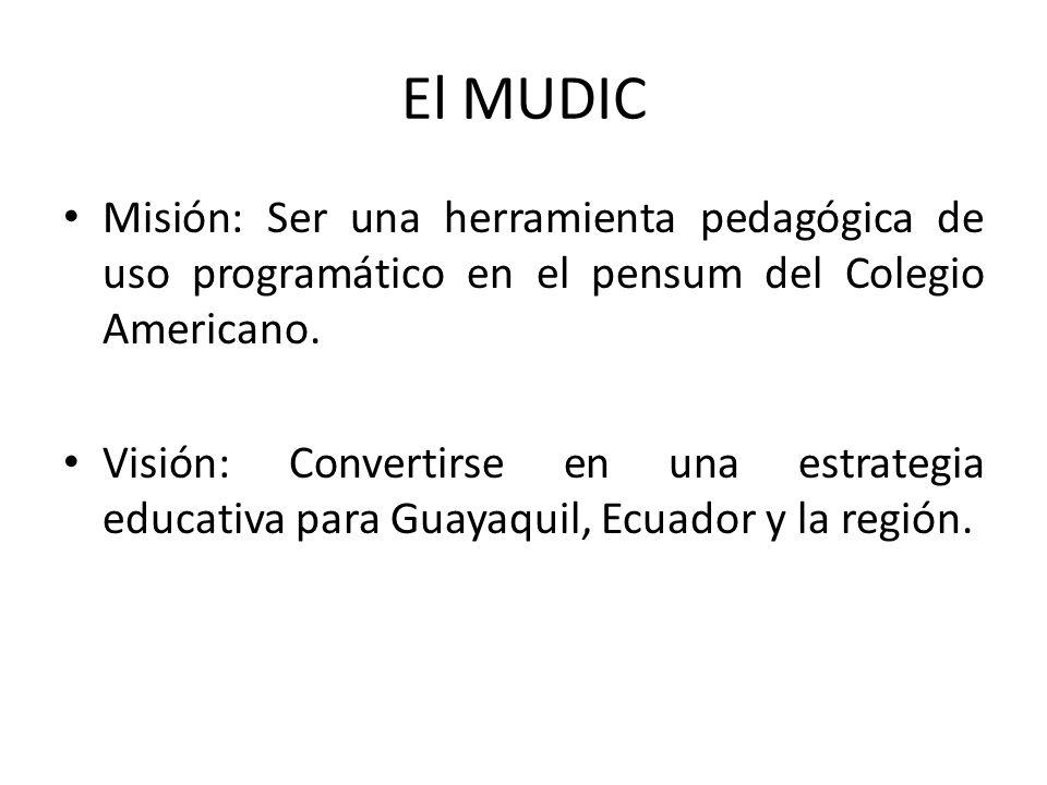 El MUDIC Misión: Ser una herramienta pedagógica de uso programático en el pensum del Colegio Americano. Visión: Convertirse en una estrategia educativ