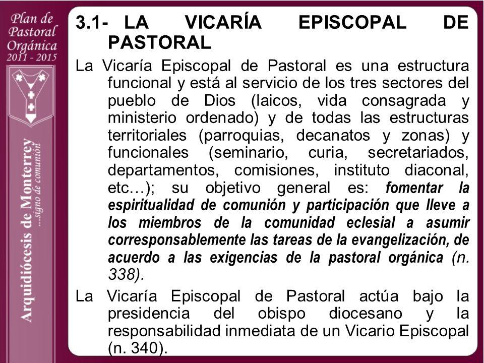 3.1-LA VICARÍA EPISCOPAL DE PASTORAL La Vicaría Episcopal de Pastoral es una estructura funcional y está al servicio de los tres sectores del pueblo d