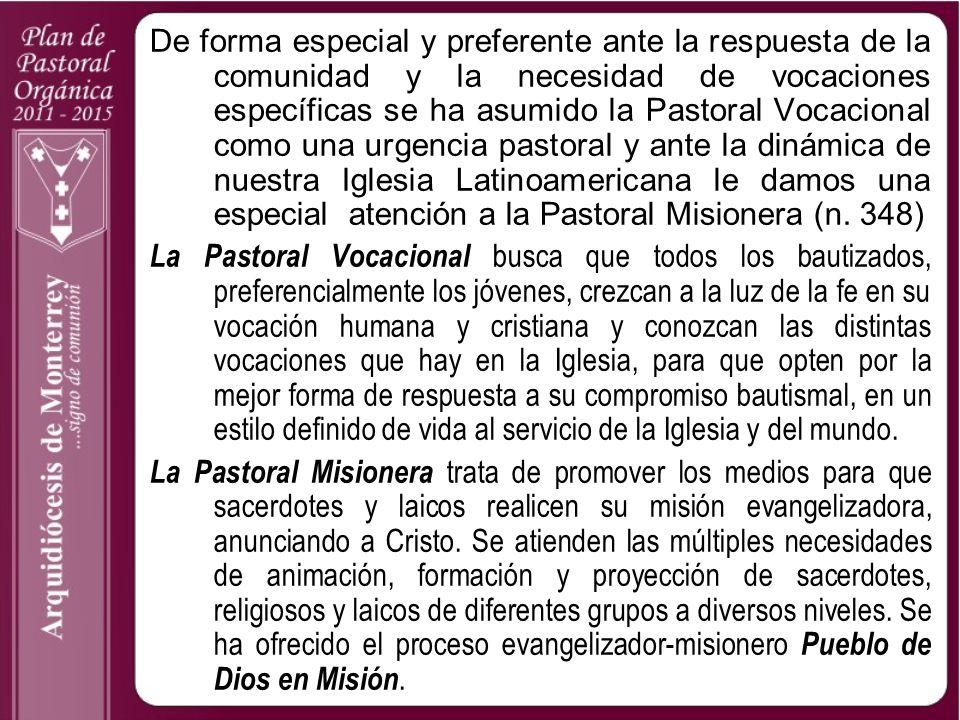 De forma especial y preferente ante la respuesta de la comunidad y la necesidad de vocaciones específicas se ha asumido la Pastoral Vocacional como un
