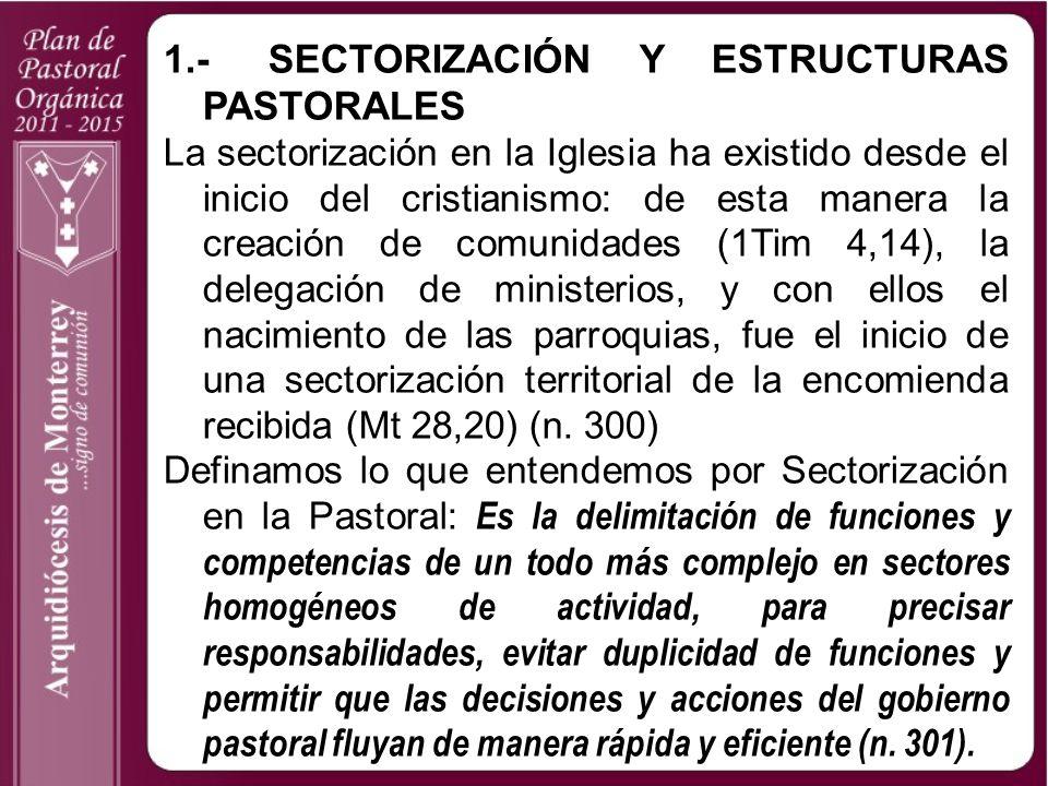 1.-SECTORIZACIÓN Y ESTRUCTURAS PASTORALES La sectorización en la Iglesia ha existido desde el inicio del cristianismo: de esta manera la creación de c