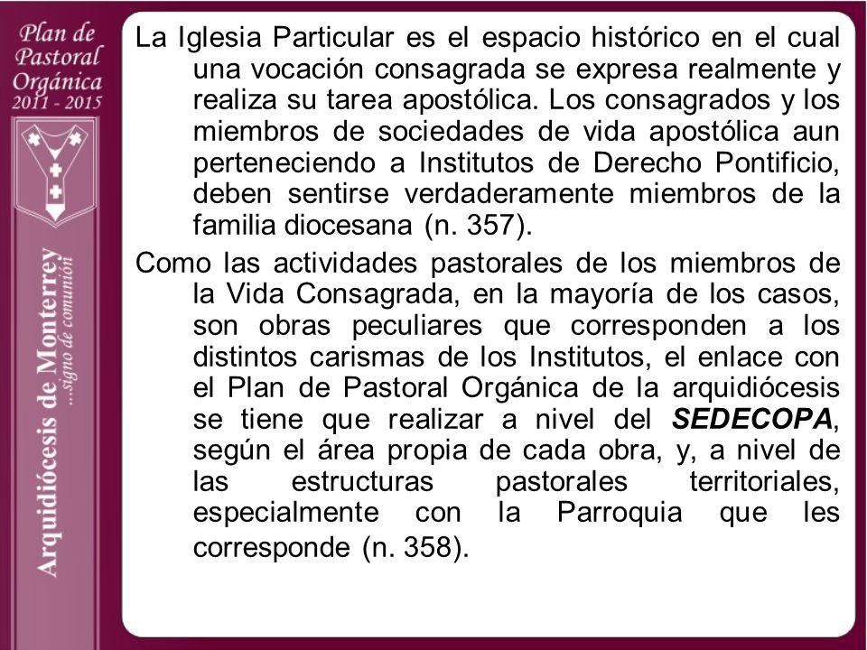 La Iglesia Particular es el espacio histórico en el cual una vocación consagrada se expresa realmente y realiza su tarea apostólica. Los consagrados y