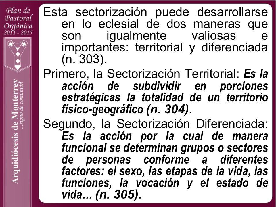 Esta sectorización puede desarrollarse en lo eclesial de dos maneras que son igualmente valiosas e importantes: territorial y diferenciada (n. 303). P