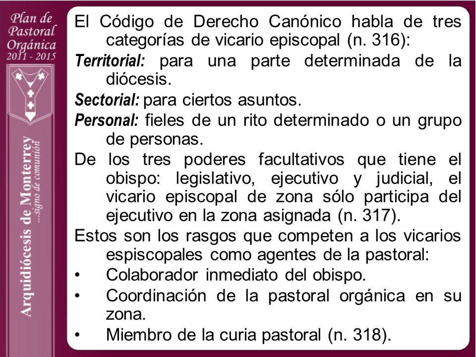 El Código de Derecho Canónico habla de tres categorías de vicario episcopal (n. 316): Territorial: para una parte determinada de la diócesis. Sectoria