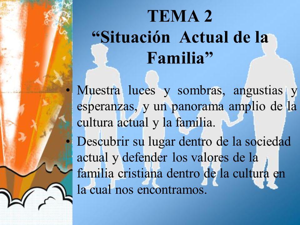 TEMA 2 Situación Actual de la Familia Muestra luces y sombras, angustias y esperanzas, y un panorama amplio de la cultura actual y la familia. Descubr
