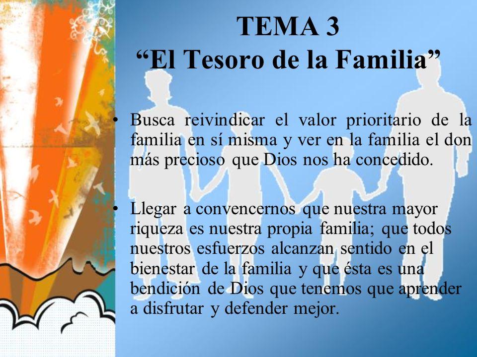 TEMA 3 El Tesoro de la Familia Busca reivindicar el valor prioritario de la familia en sí misma y ver en la familia el don más precioso que Dios nos h