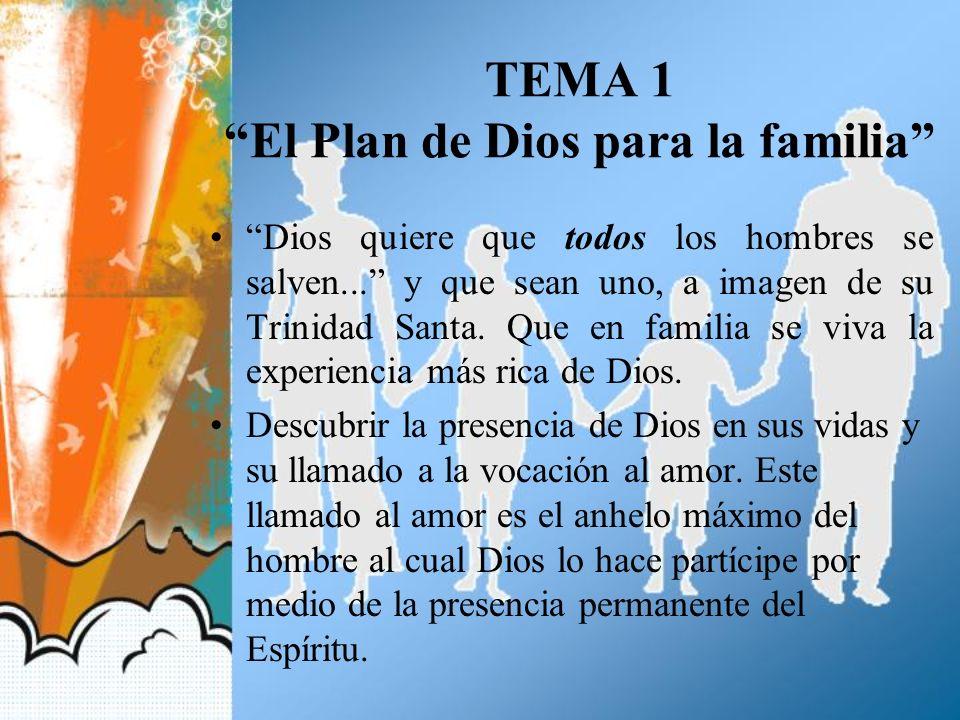 TEMA 1 El Plan de Dios para la familia Dios quiere que todos los hombres se salven... y que sean uno, a imagen de su Trinidad Santa. Que en familia se