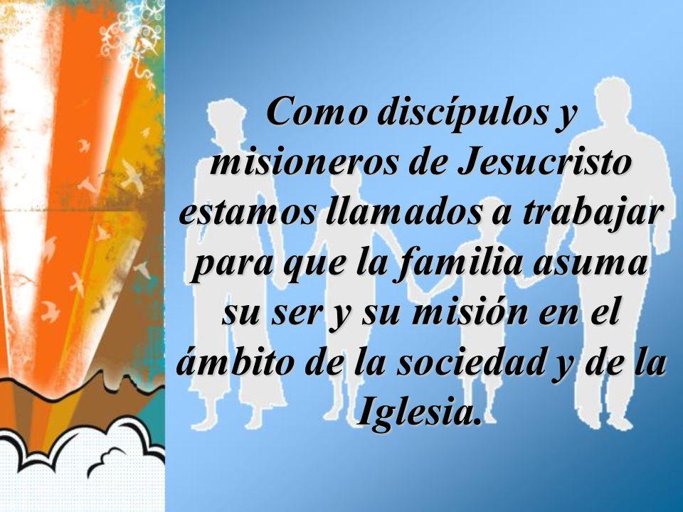 Como discípulos y misioneros de Jesucristo estamos llamados a trabajar para que la familia asuma su ser y su misión en el ámbito de la sociedad y de l