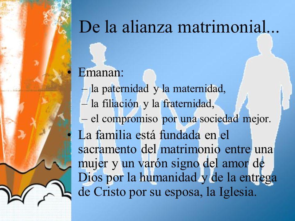 De la alianza matrimonial... Emanan: –la paternidad y la maternidad, –la filiación y la fraternidad, –el compromiso por una sociedad mejor. La familia