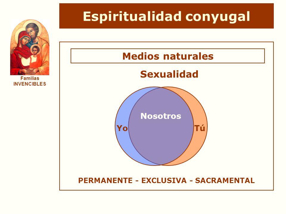 Espiritualidad conyugal Familias INVENCIBLES Medios naturales YoTú Nosotros Sexualidad PERMANENTE - EXCLUSIVA - SACRAMENTAL