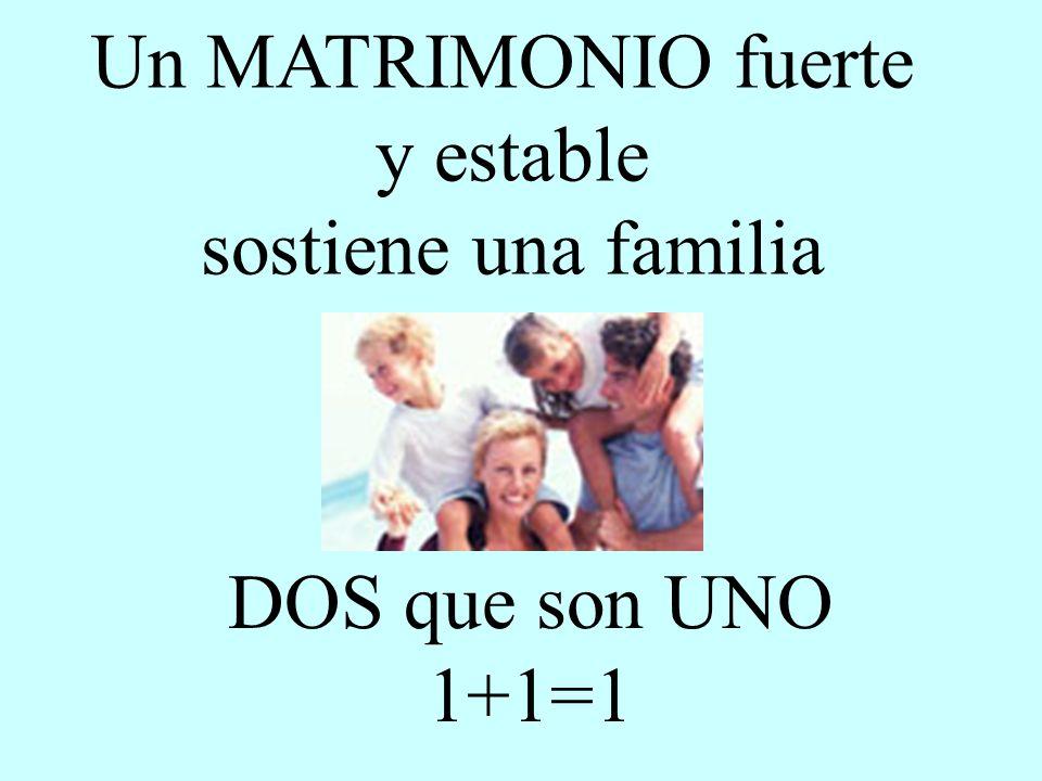 DOS que son UNO 1+1=1 Un MATRIMONIO fuerte y estable sostiene una familia