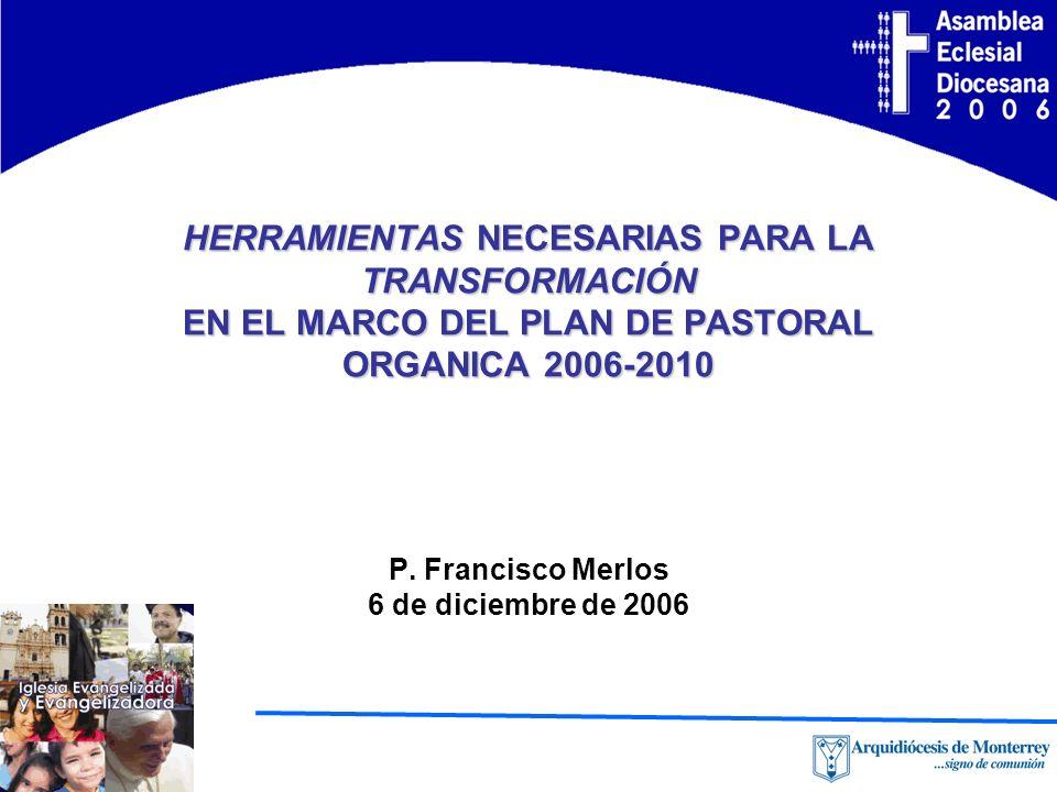 HERRAMIENTAS NECESARIAS PARA LA TRANSFORMACIÓN EN EL MARCO DEL PLAN DE PASTORAL ORGANICA 2006-2010 P.