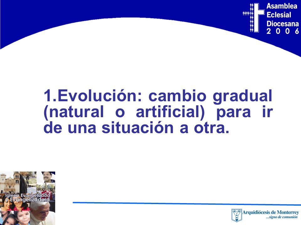 1.Evolución: cambio gradual (natural o artificial) para ir de una situación a otra.