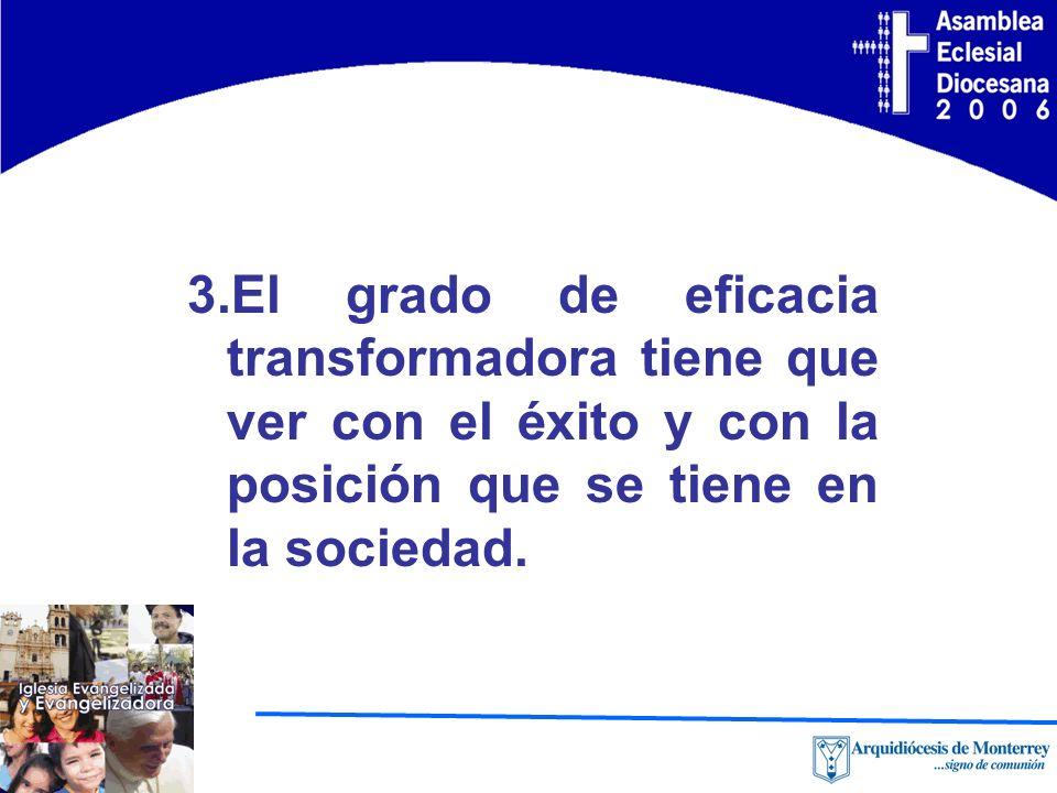 3.El grado de eficacia transformadora tiene que ver con el éxito y con la posición que se tiene en la sociedad.