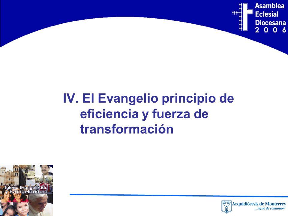 IV. El Evangelio principio de eficiencia y fuerza de transformación