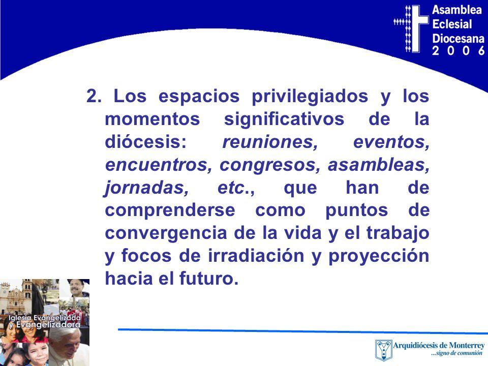 2. Los espacios privilegiados y los momentos significativos de la diócesis: reuniones, eventos, encuentros, congresos, asambleas, jornadas, etc., que
